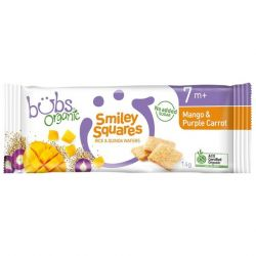 Mango & Purple Carrot Smiley Squares