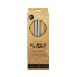 Silicone Straws Pastel STRAIGHT 4 Pack